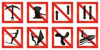 Seefahrrinnenzeichen von Finnland - die Verankerung ist verboten Lizenzfreies Stockbild