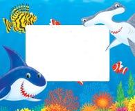 Seefeld mit Haifischen und Fischen Stockbild