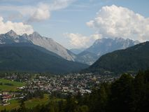 Seefeld in Tyrol Austria in Summer. Seefeld town amongst the mountains / alps in Tyrol Austria in summer stock images