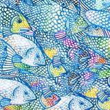 Seefischillustration Altes gelbes Papier auf dunklem Hintergrund Stockfotos