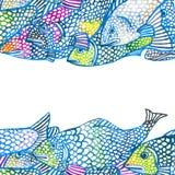 Seefischillustration Altes gelbes Papier auf dunklem Hintergrund Stockbild