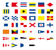 Seeflaggen des internationalen Seesignals, lokalisiert auf weißem Hintergrund vektor abbildung