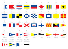 Seeflaggen des internationalen Seesignals, Morse-Alphabet lokalisiert auf weißem Hintergrund lizenzfreie abbildung