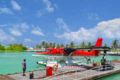 Seeflugzeuge in Malediven-Seehafen Stockfotos