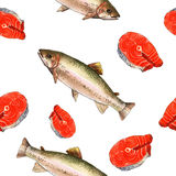 Seeforellenfische Handgemachte Aquarellmalereiillustration auf einem Weißbuchkunsthintergrund Lizenzfreies Stockfoto