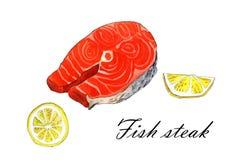 Seeforellenfische mit Zitrone, Aquarellmalereiillustration auf einem Weißbuchkunsthintergrund Stockbild