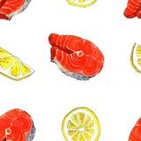 Seeforellenfische mit Zitrone Handgemachte Aquarellmalereiillustration auf einem Weißbuchkunsthintergrund Lizenzfreie Stockbilder