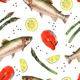 Seeforellenfische mit Zitrone und Spargel, Aquarellmalereiillustration auf einem Weißbuchkunsthintergrund Stockfotos