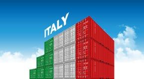 Seefracht-Behälter-Italien-Flagge für Logistik und Transport mit Wolken lizenzfreie abbildung