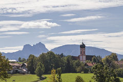 Seeg in Allgaeu. Against the background of the Allg?u Alps Stock Photos