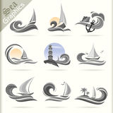 Seegraphik-Reihe - erstklassige Seereisen-Ikonen Stockfotos