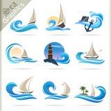 Seegraphik-Reihe - erstklassige Seereisen-Ikonen Lizenzfreies Stockfoto