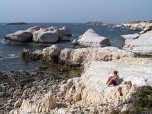 Seehöhlen, Zypern. Lizenzfreies Stockbild