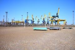 Seehafen in der Mariupol-Stadt stockfotografie