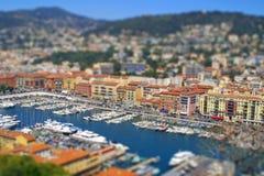 Seehafen der Nizza Stadt, Frankreich. Kippen-verschieben Sie Effekt Stockfotografie