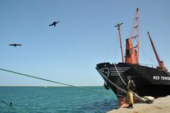 Seehafen im Golf von Aden Stockbild