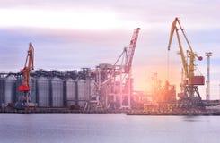 Seehafen mit Kränen Ladung und Verschiffen lizenzfreie stockfotografie