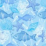 Seehand gezeichnetes nahtloses Muster Stockbilder