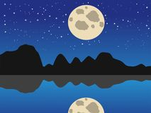 Seehintergrund des blauen Mondes Nacht