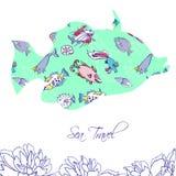 Seehintergrund mit blauen Fischen vektor abbildung
