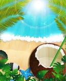 Seehintergrund mit Palmen und Kokosnusscocktail Lizenzfreies Stockfoto