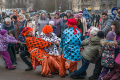 Seeing carnival. Carnival in St. Petersburg celebrations in the streets and parks Stock Photo