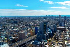 Skyline in Setagaya-ku, Tokyo, Japan. Seeing the city skyline in the warm glow of a Tokyo sunset or sunrise is an unbeatable way to finish your adventure Stock Photos