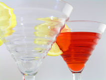 Seeing double. Double cosmopolitans on white background stock image