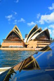 Seeing Double (SOH). Sydney Opera House against blue sky + reflection Royalty Free Stock Image
