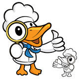 Seeing the duck cooks character Magnifier Royalty Free Stock Images