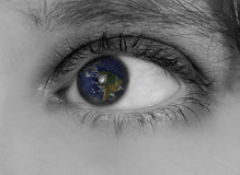 Seeing Earth's Future. Earth in Sight, Concept of Looking into Earth's Future Stock Photography