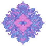 Seeing eye in mandala. Mystic mandala - seeing eye in floral frame, pink and blue, violet colored. Psychedelic, esoteric theme, magical symbol. Vector isolated royalty free illustration