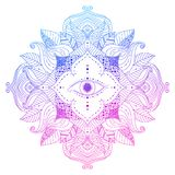 Seeing eye in mandala. Mystic mandala - seeing eye in floral frame, pink and blue, violet colored. Psychedelic, esoteric, magical symbol, line art. Vector stock illustration