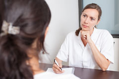 Seeing a gynecologist Stock Photo