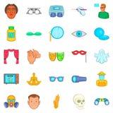 Seeing icons set, cartoon style. Seeing icons set. Cartoon set of 25 seeing vector icons for web isolated on white background Stock Photos