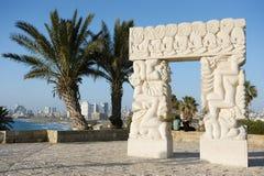 Seeküste und die Ansicht von Tel Aviv Stockbild