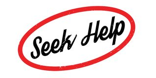 Seek Help rubber stamp. Grunge design with dust scratches. Effects can be easily removed for a clean, crisp look. Color is easily changed Royalty Free Stock Photo