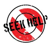 Seek Help rubber stamp. Grunge design with dust scratches. Effects can be easily removed for a clean, crisp look. Color is easily changed Royalty Free Stock Photos
