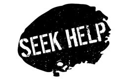 Seek Help rubber stamp. Grunge design with dust scratches. Effects can be easily removed for a clean, crisp look. Color is easily changed Royalty Free Stock Images