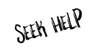 Seek Help rubber stamp. Grunge design with dust scratches. Effects can be easily removed for a clean, crisp look. Color is easily changed Royalty Free Stock Image