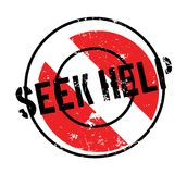 Seek Help rubber stamp. Grunge design with dust scratches. Effects can be easily removed for a clean, crisp look. Color is easily changed Stock Photo
