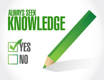always seek knowledge approval sign concept Royalty Free Stock Images