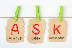 Always Seek Knowledge ASK. Written on old torn paper with clip hanging on white background. Training and development concept royalty free stock photo