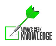 Always seek knowledge check dart sign concept Stock Photo