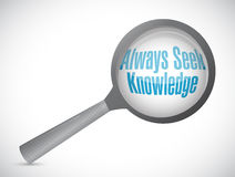 always seek knowledge magnify glass sign concept Stock Photos