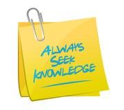 Always seek knowledge memo post sign concept Stock Photos