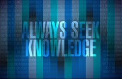 Always seek knowledge message sign concept Stock Photo