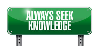 always seek knowledge post sign concept Royalty Free Stock Photography