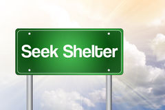 Seek Shelter Green Road Sign Royalty Free Stock Photos