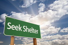 Seek Shelter Green Road Sign Royalty Free Stock Image